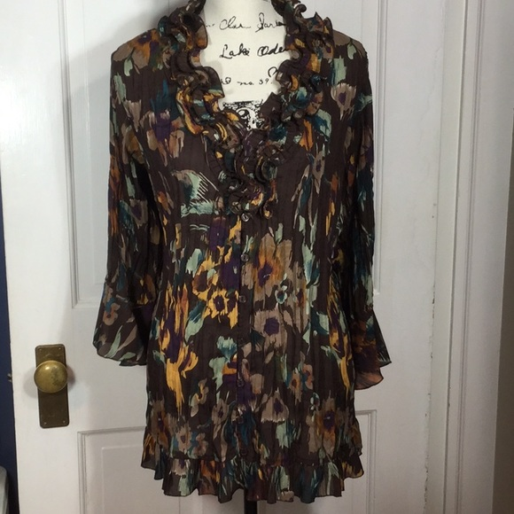 NWOT NY COLLECTION Women/'s Top Blouse Bell Sleeve Polka Dots Career Size Large